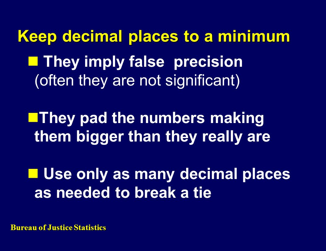 Keep decimal places to a minimum They imply false precision (often they are not significant) They pad the numbers making them bigger than they really are Use only as many decimal places as needed to break a tie Bureau of Justice Statistics