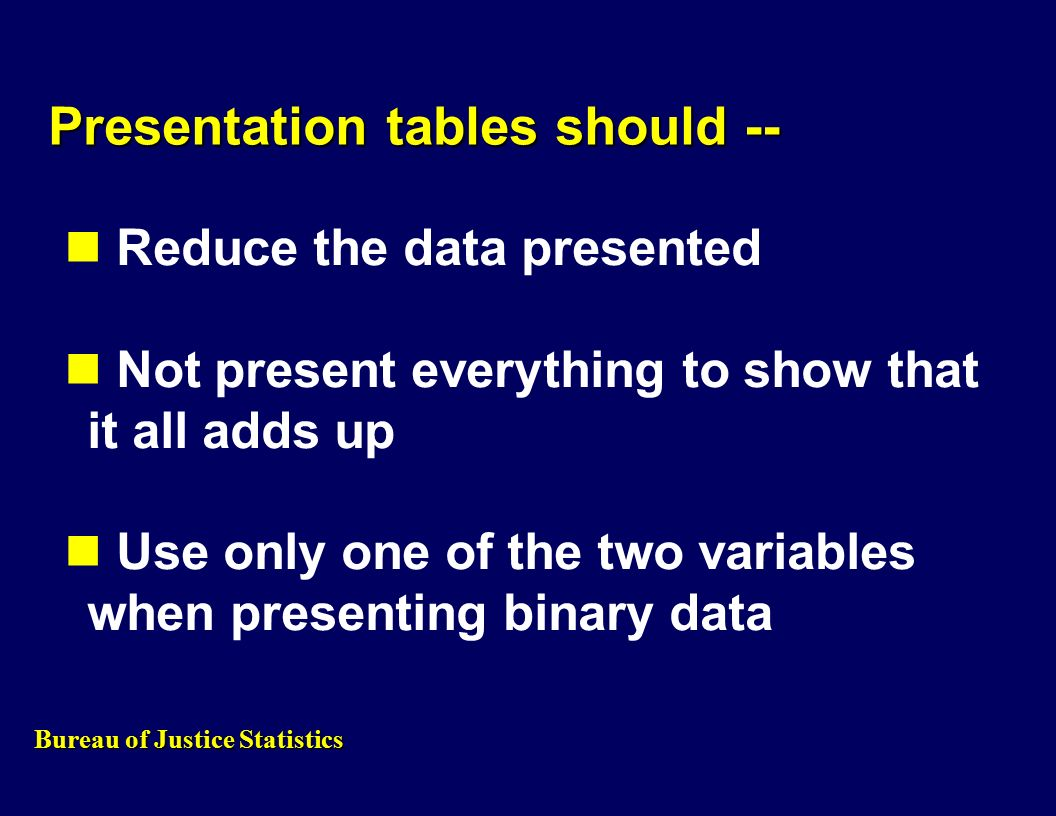 Presentation tables should -- Reduce the data presented Not present everything to show that it all adds up Use only one of the two variables when presenting binary data Bureau of Justice Statistics