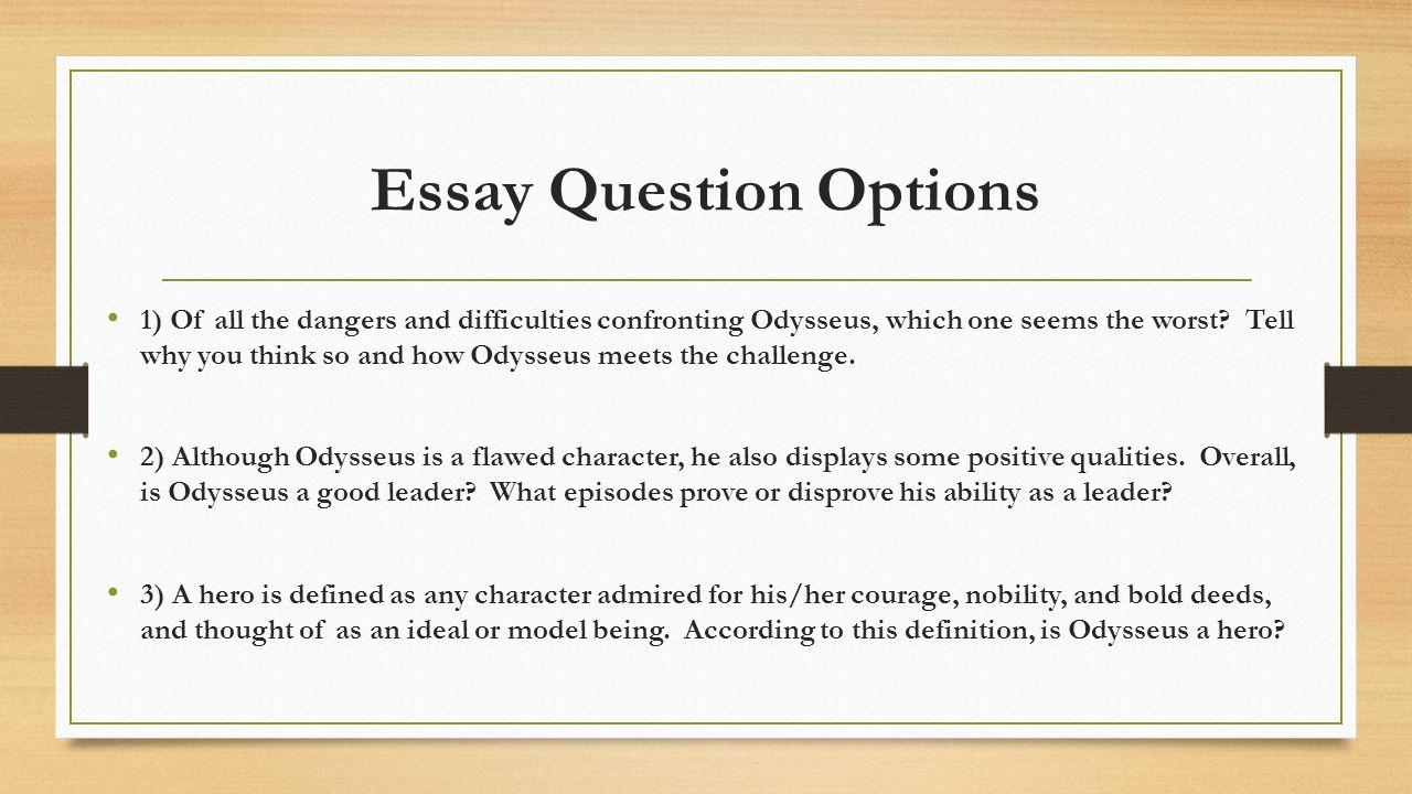 The Odyssey Essay Question | Mistyhamel