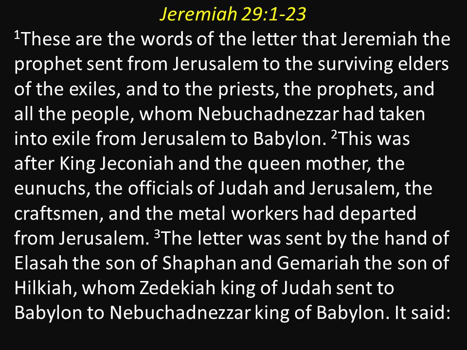 A letter to all the exiles. Jeremiah BC Habakkuk BC Haggai 520BC