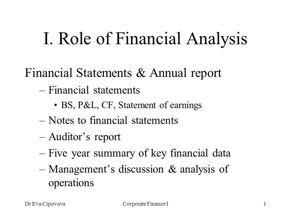 dr eva cipovovacorporate finance i1 i role of financial analysis