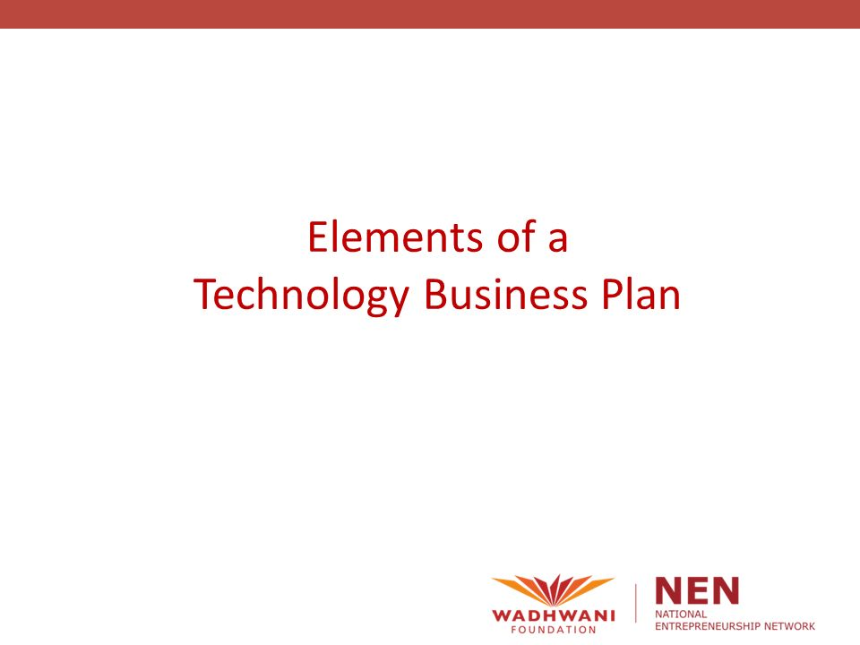 1 Elements Of A Technology Business Plan