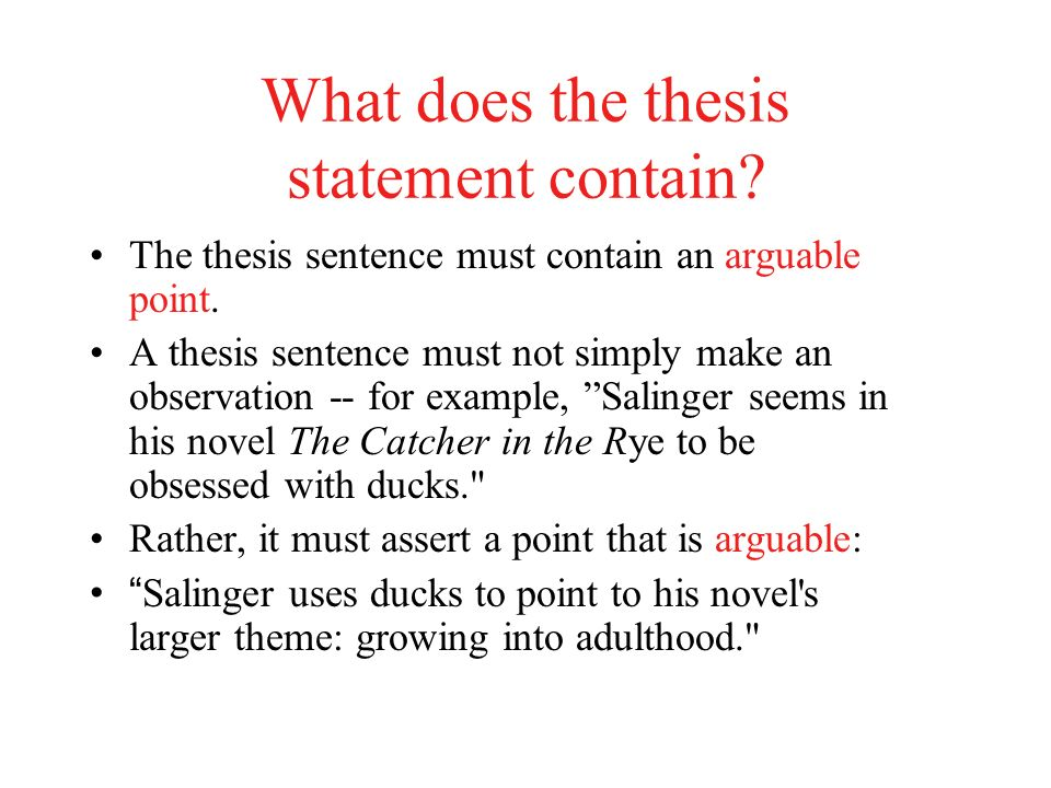 catcher in the rye thesis