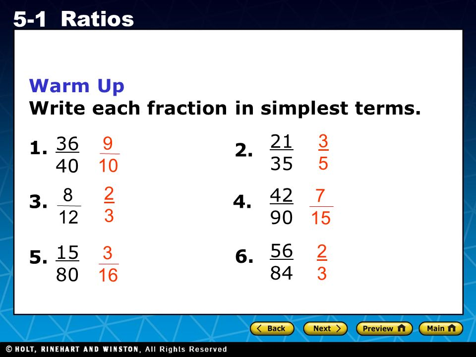 simplest form 21/35  Holt CA Course Ratios Warm Up Warm Up California Standards ...