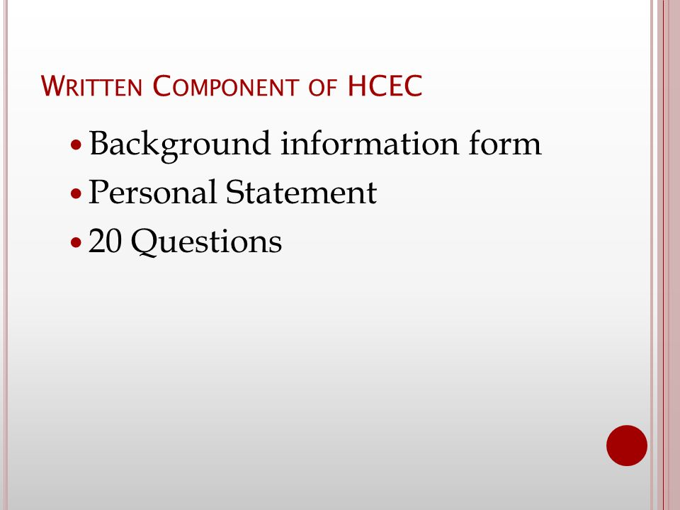 hcec personal statement