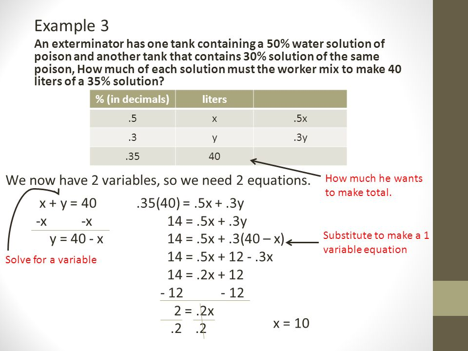 Solving Mixture Word Problems Aug. 11 th, What is a solution? A ...