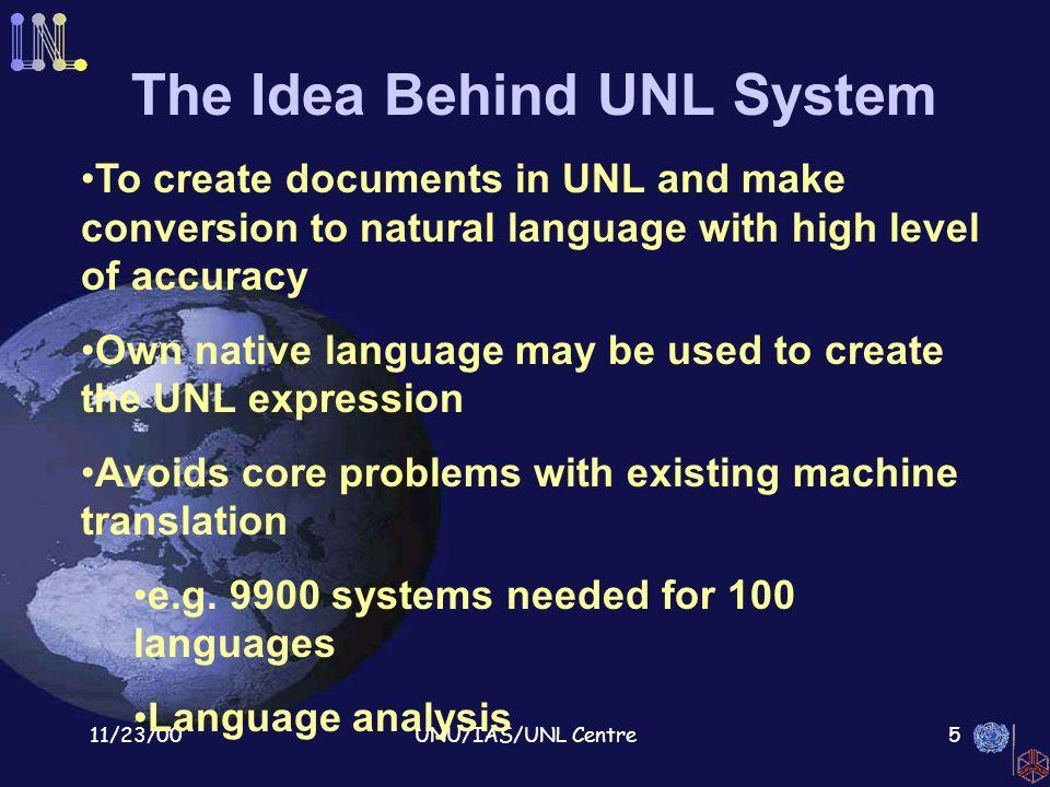 11/23/00UNU/IAS/UNL Centre1 The Universal Networking Language United