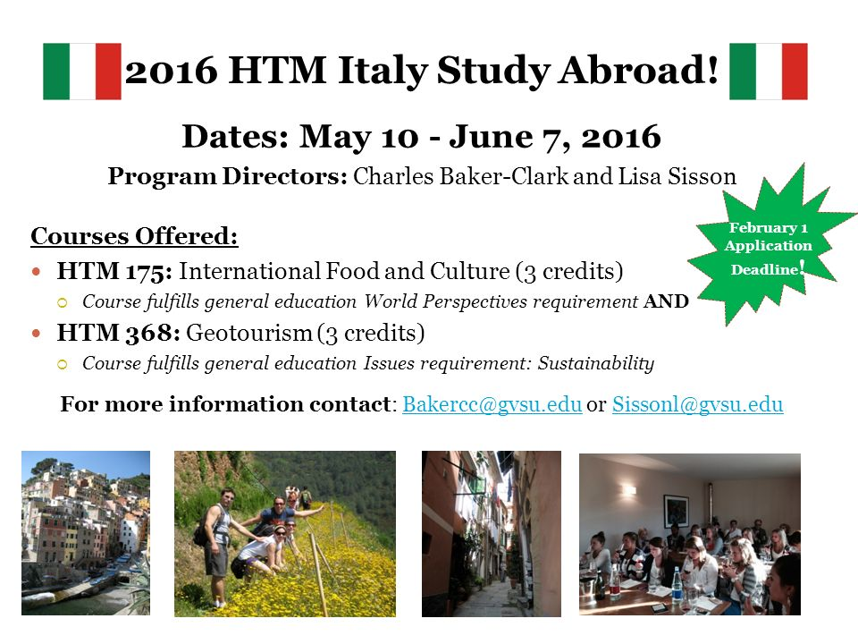 2016 HTM Italy Study Abroad.