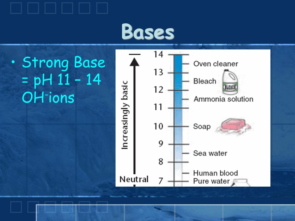 Bases Strong Base = pH 11 – 14 OH - ions