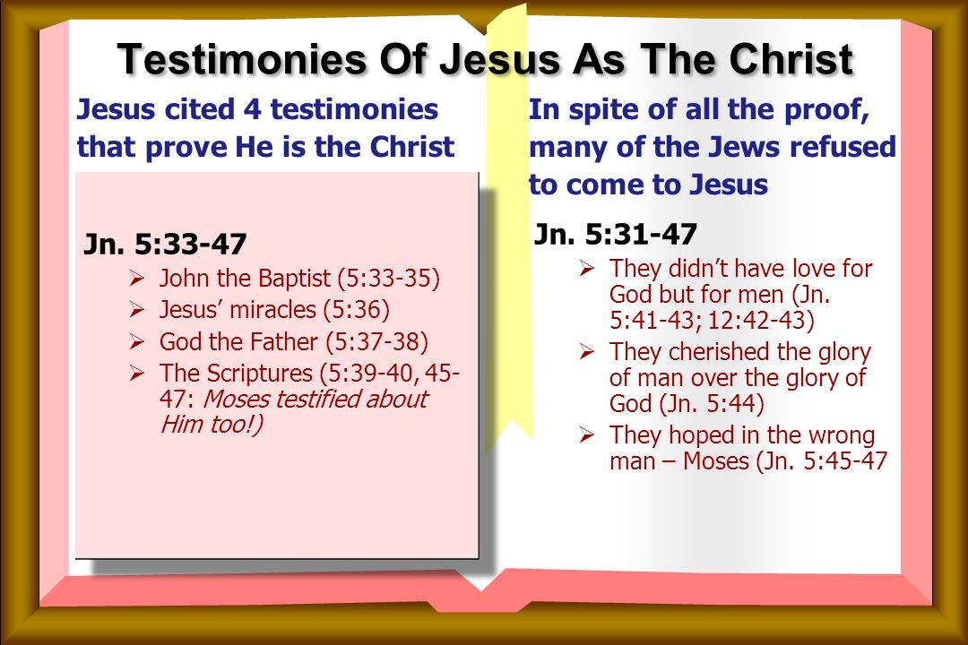 Confirmed By Four Testimonies Of Jesus As The Christ Text