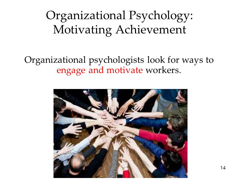 14 Organizational Psychology: Motivating Achievement Organizational psychologists look for ways to engage and motivate workers.