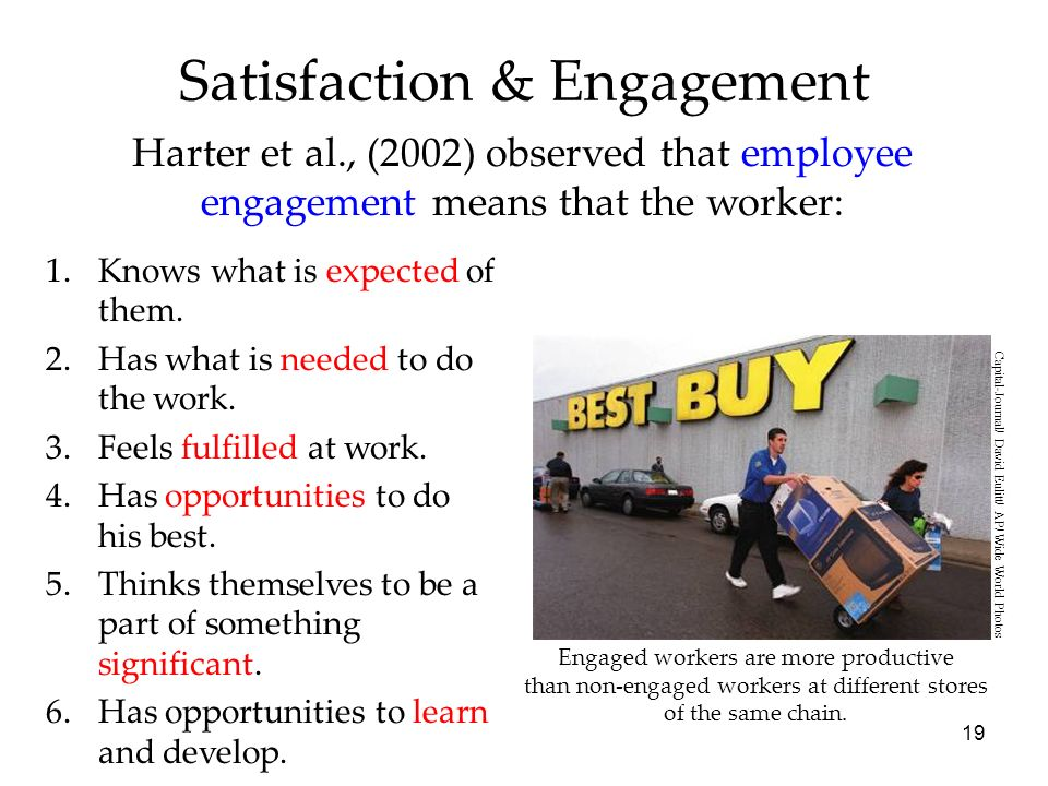 19 Satisfaction & Engagement Harter et al., (2002) observed that employee engagement means that the worker: 1.Knows what is expected of them.