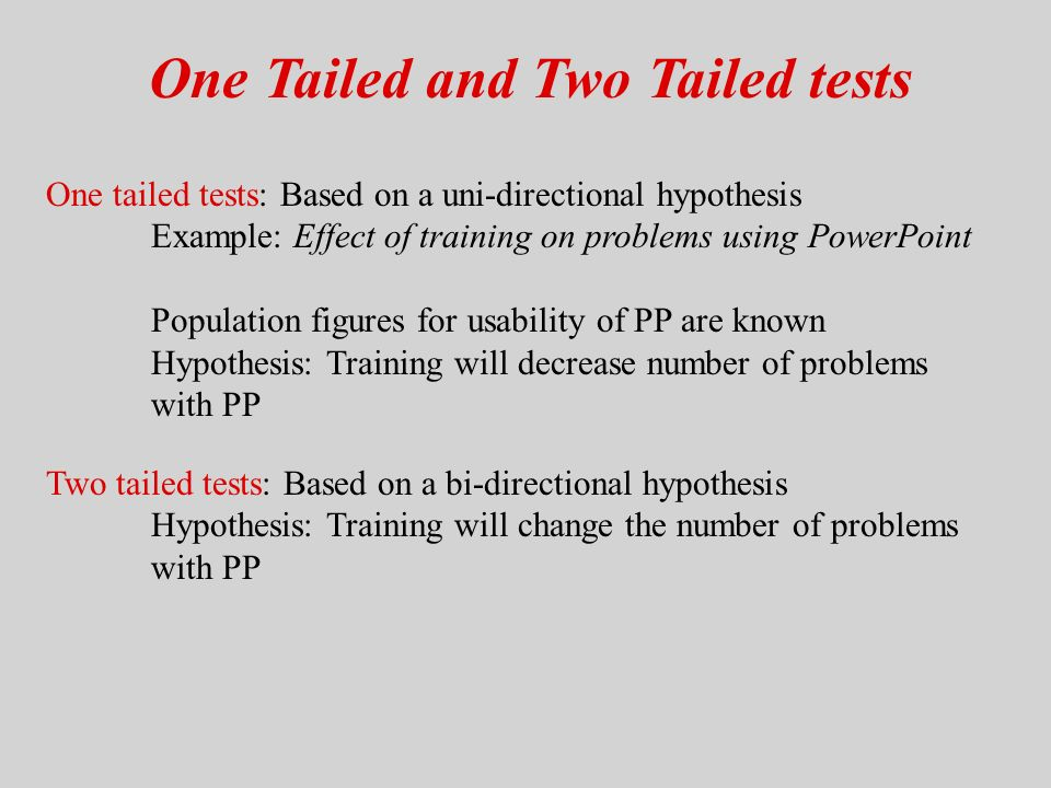 One Tailed And Two Tailed Tests One Tailed Tests Based On A Uni