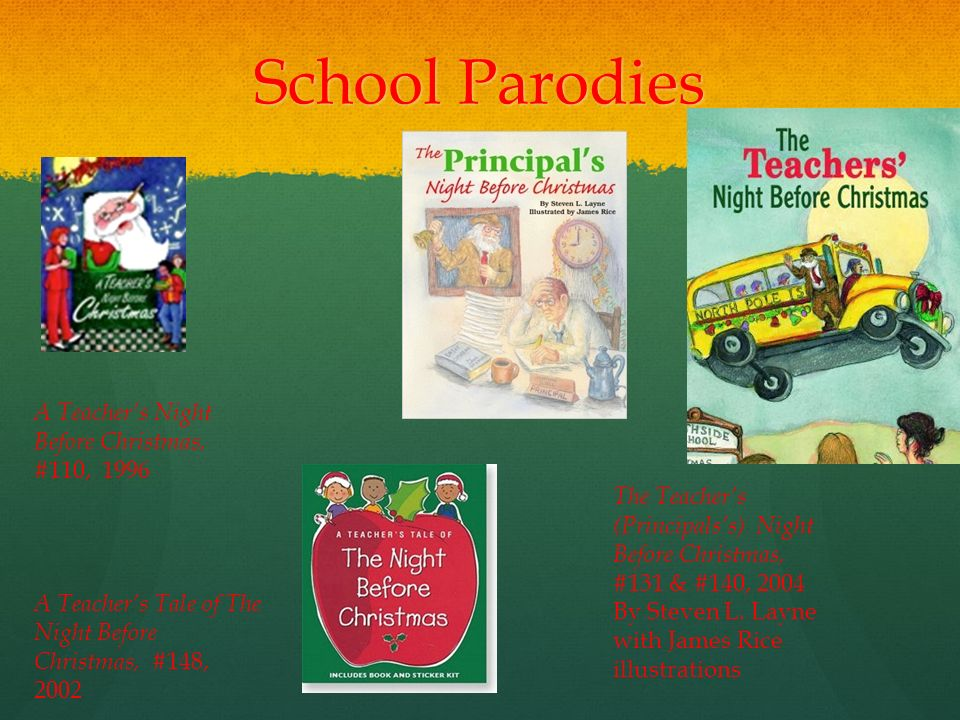 School Parodies A Teachers Night Before Christmas 110 1996 Tale Of