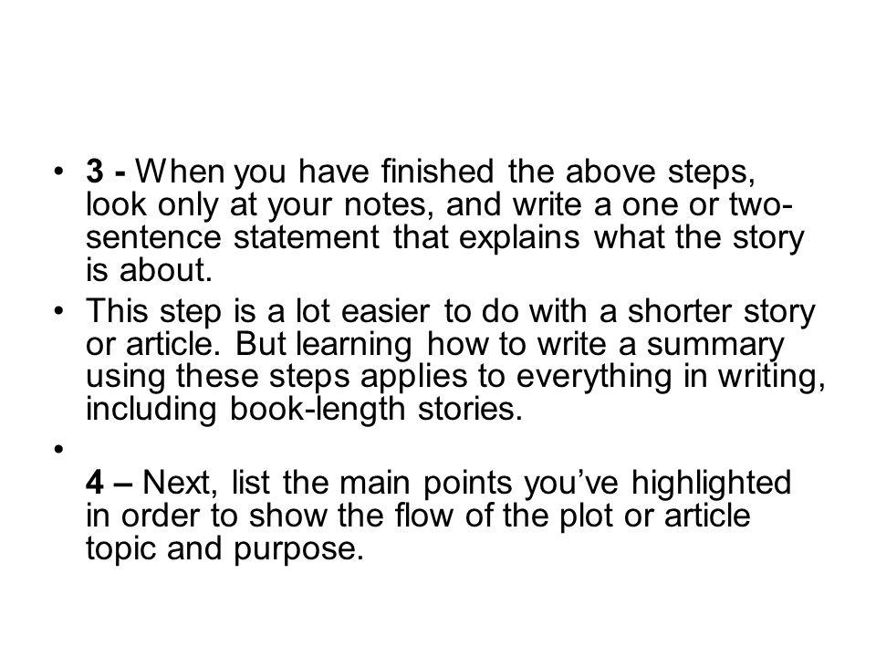 how do you do a summary