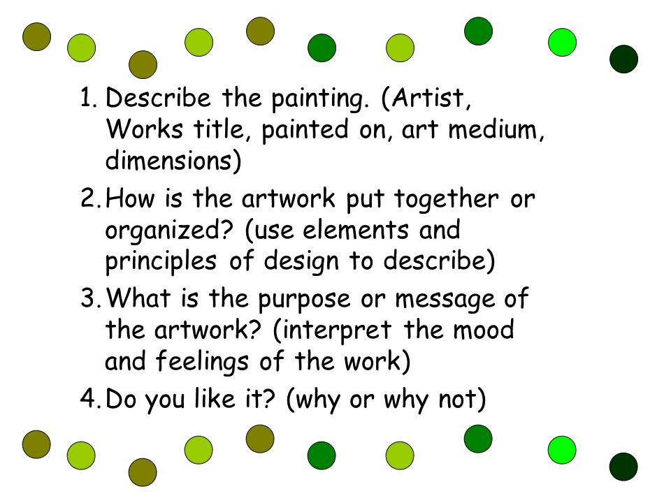 Neoimpressionism Painting Critiques 1 Describe The Painting