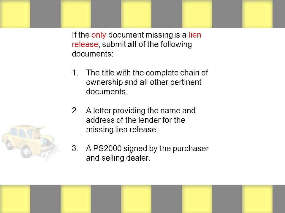 Minnesota dealer initiated conditional transfers 1 when dealer is if the only document missing is a lien release submit all of the following documents altavistaventures Images