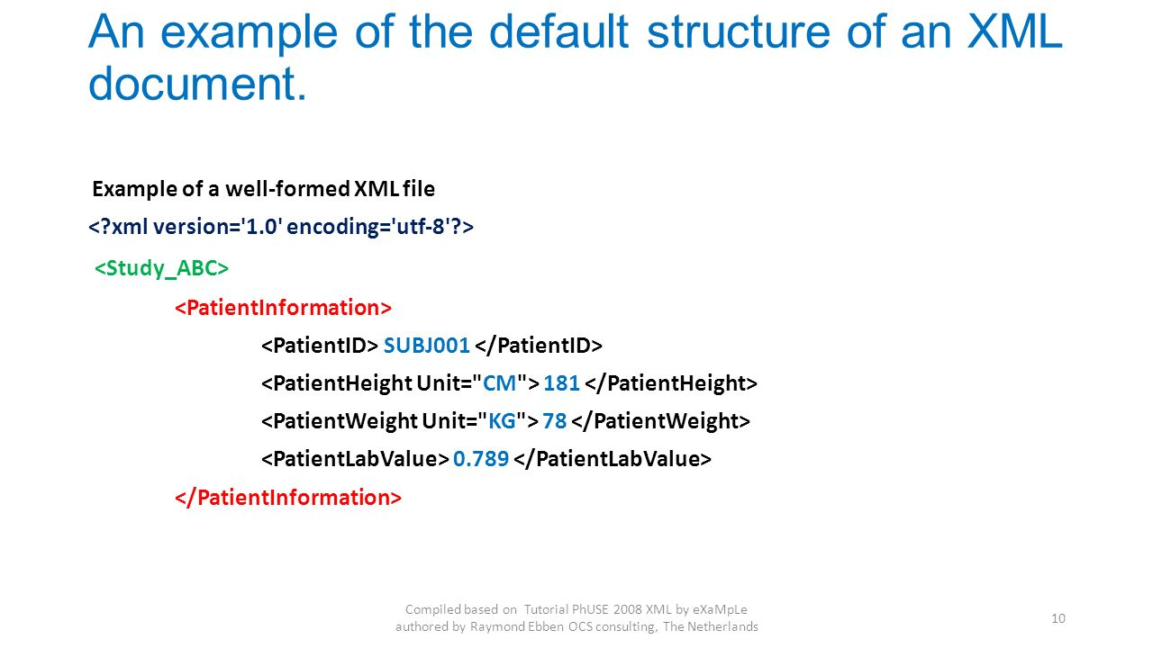 An example of the default structure of an XML document.