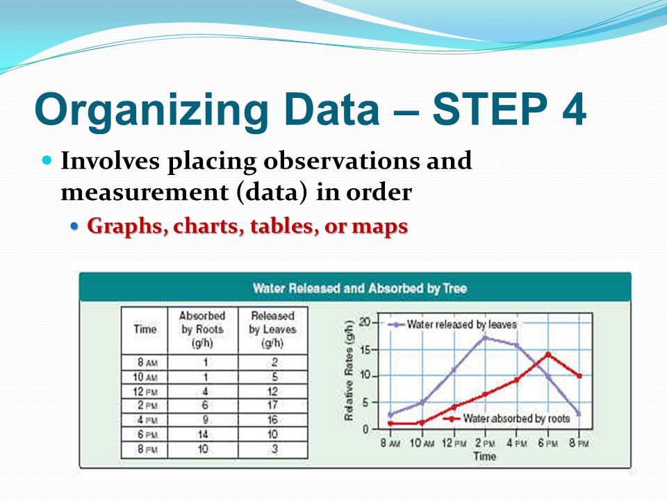 Organizing Data – STEP 4 Involves placing observations and measurement (data) in order Graphs, charts, tables, or maps Graphs, charts, tables, or maps