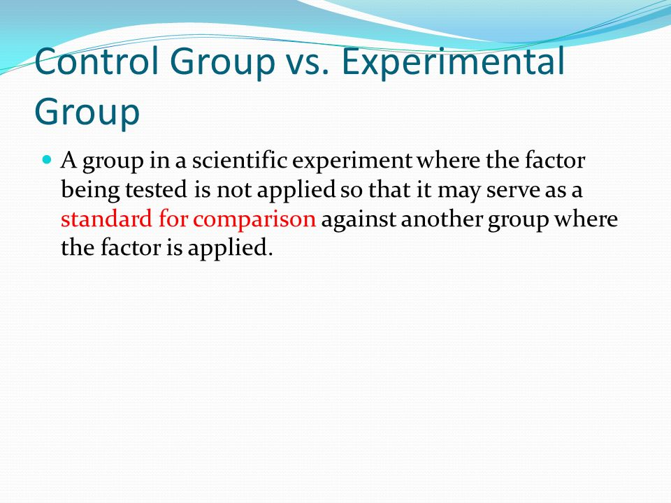 Control Group vs.