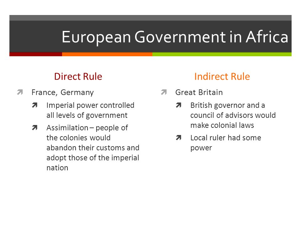 European Government in Africa Direct Rule  France, Germany  Imperial power controlled all levels of government  Assimilation – people of the colonies would abandon their customs and adopt those of the imperial nation Indirect Rule  Great Britain  British governor and a council of advisors would make colonial laws  Local ruler had some power