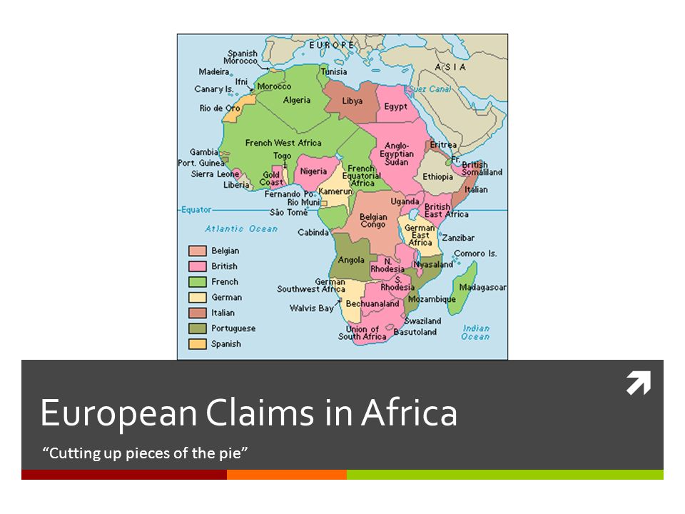  European Claims in Africa Cutting up pieces of the pie