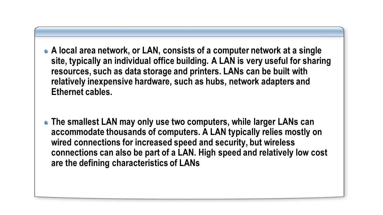 Network 1 S02 By Dr Ahmad Aa Alkhatib Cabling Basics For Printers With Wired Cable Diagram A Local Area Or Lan Consists Of Computer At Single