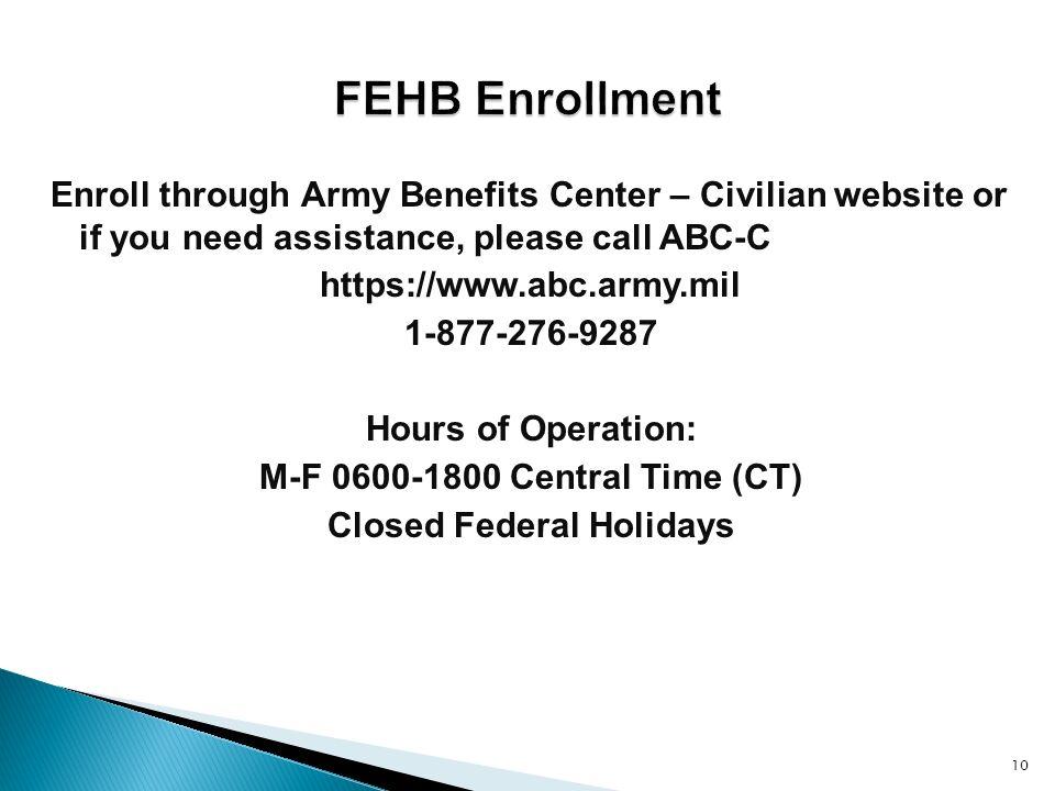 10 Enroll Through Army Benefits