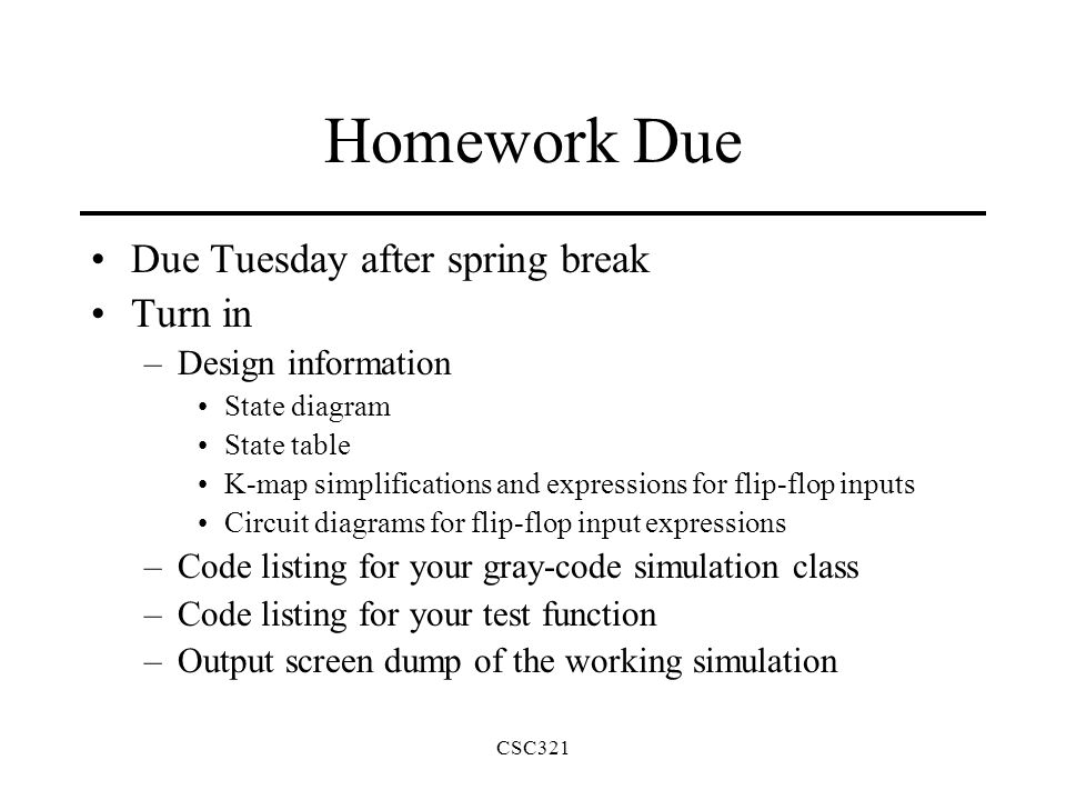 Csc321 homework due due tuesday after spring break turn in design 1 csc321 ccuart Image collections