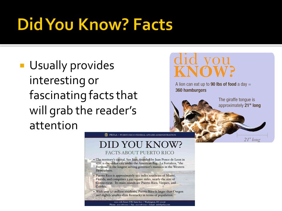  Usually provides interesting or fascinating facts that will grab the reader's attention