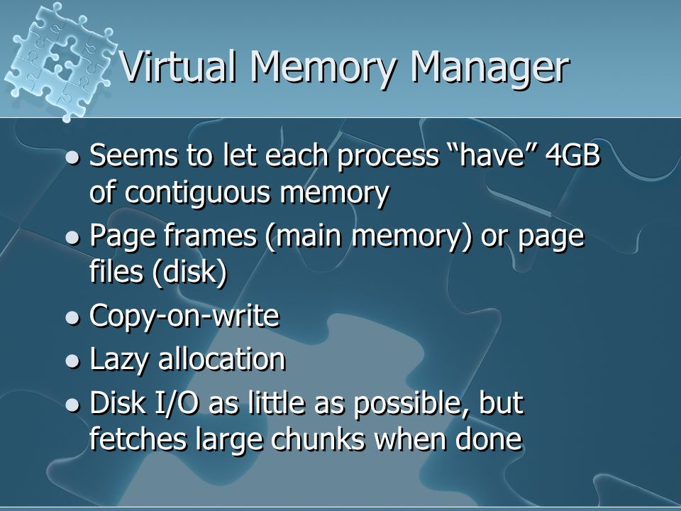 memory management in windows xp