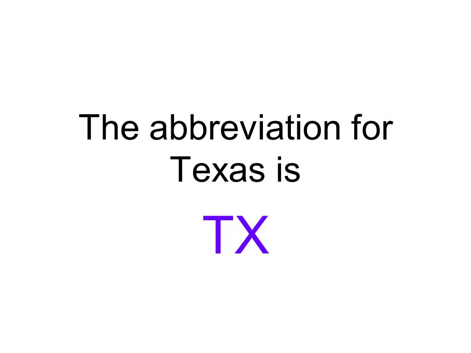 the abbreviation for texas is tx the capital for south dakota is