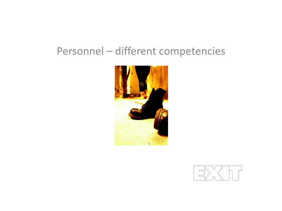 Personnel – different competencies