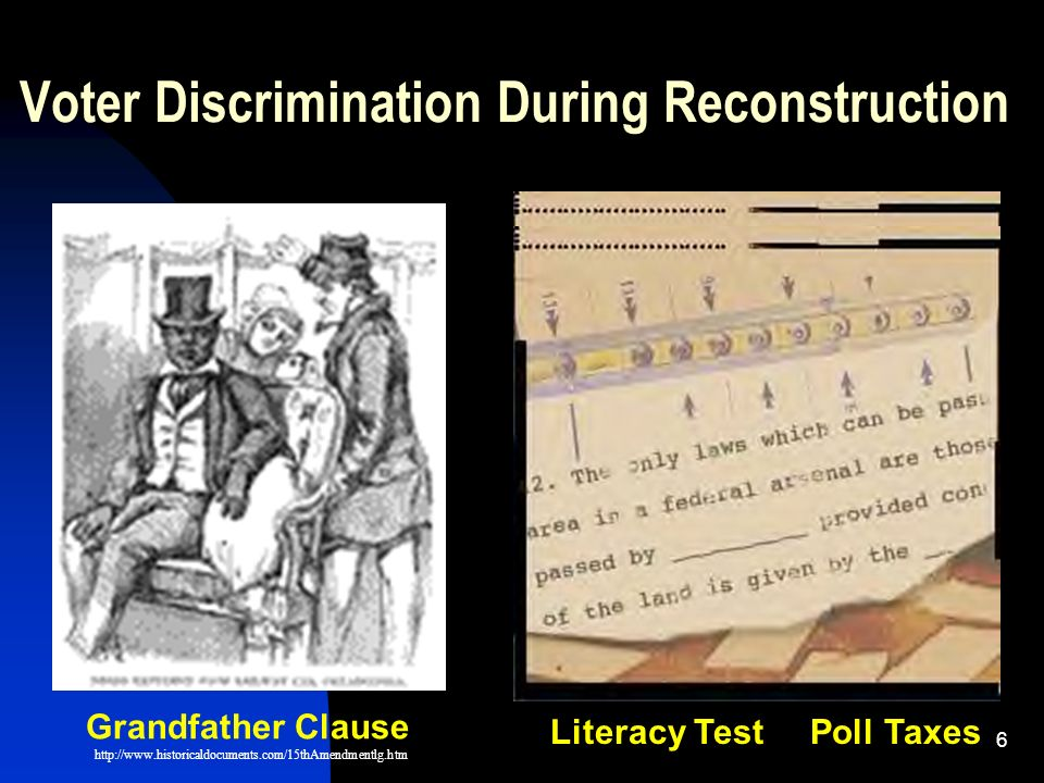 1 African American Voting Rights The 15th Amendment Reconstruction