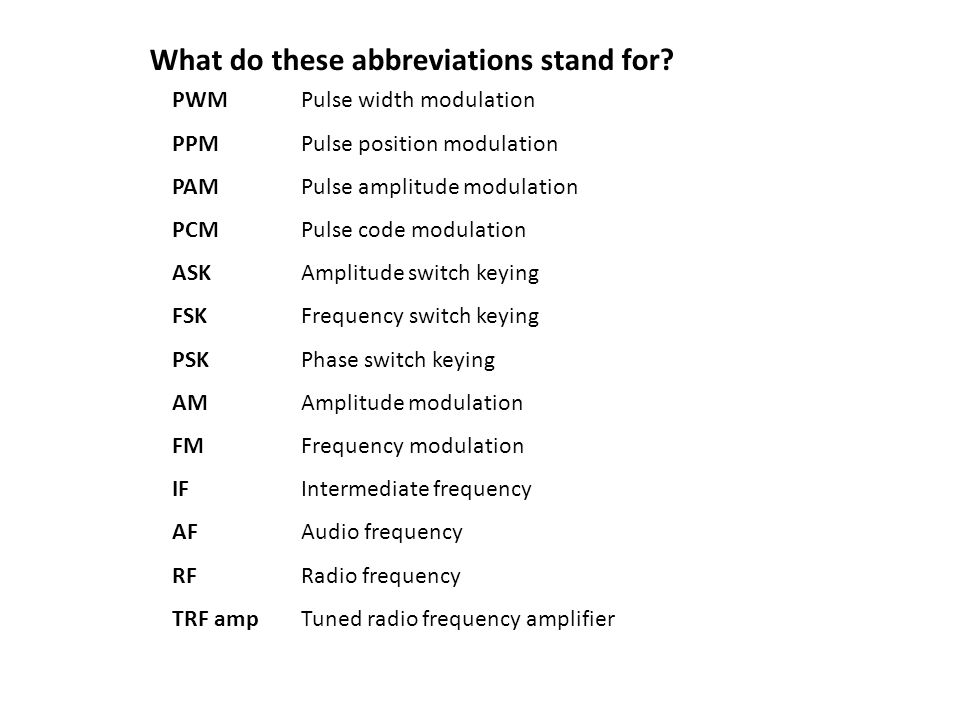What Do These Abbreviations Stand For