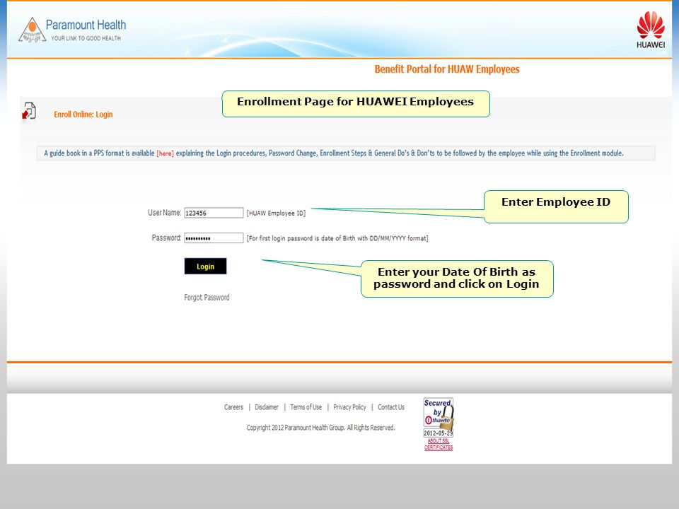 Paramount Health Group Benefit Portal for HUAWEI Employees