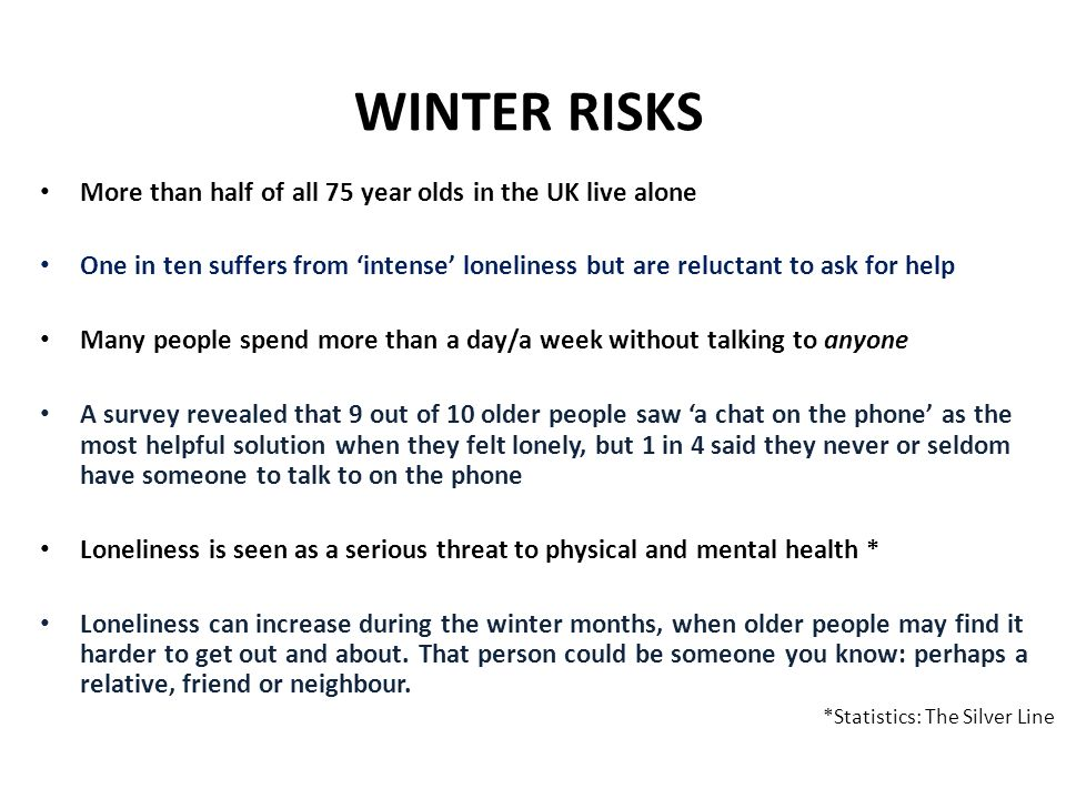WINTER WATCH 2014: FIGHTING LONELINESS THIS WINTER Key