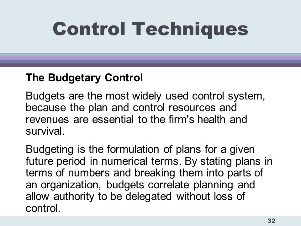 Budgetary control techniques ppt