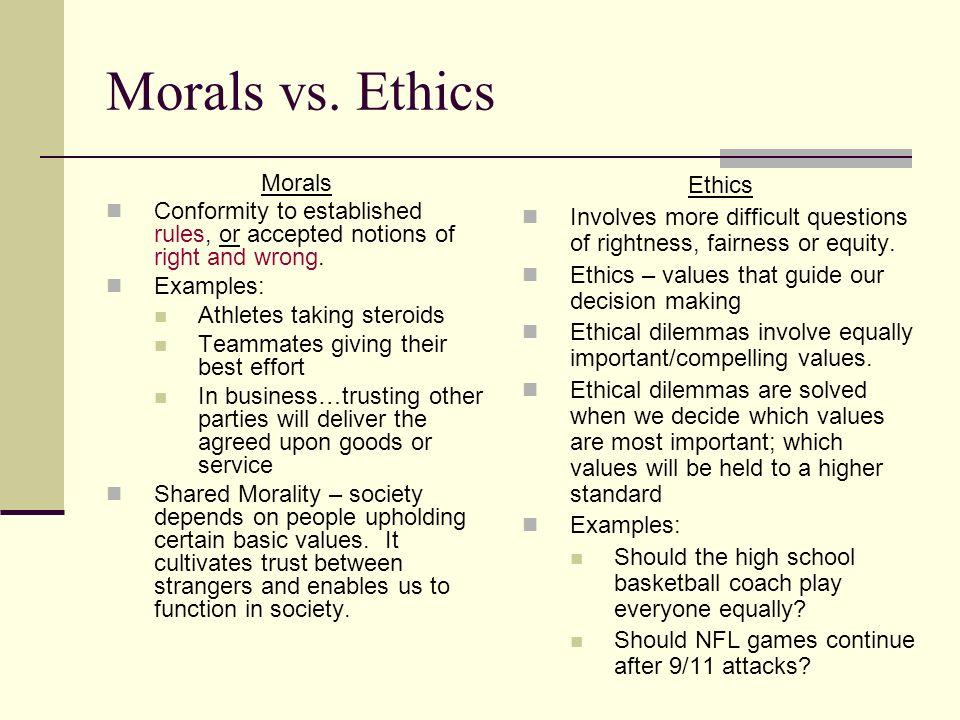 Sport Management Ethical Principles Morals Vs Ethics Morals