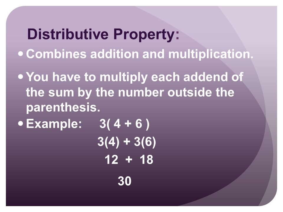 Distributive Property: Combines addition and multiplication.