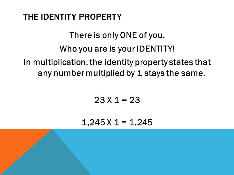 THE IDENTITY PROPERTY There is only ONE of you. Who you are is your IDENTITY.