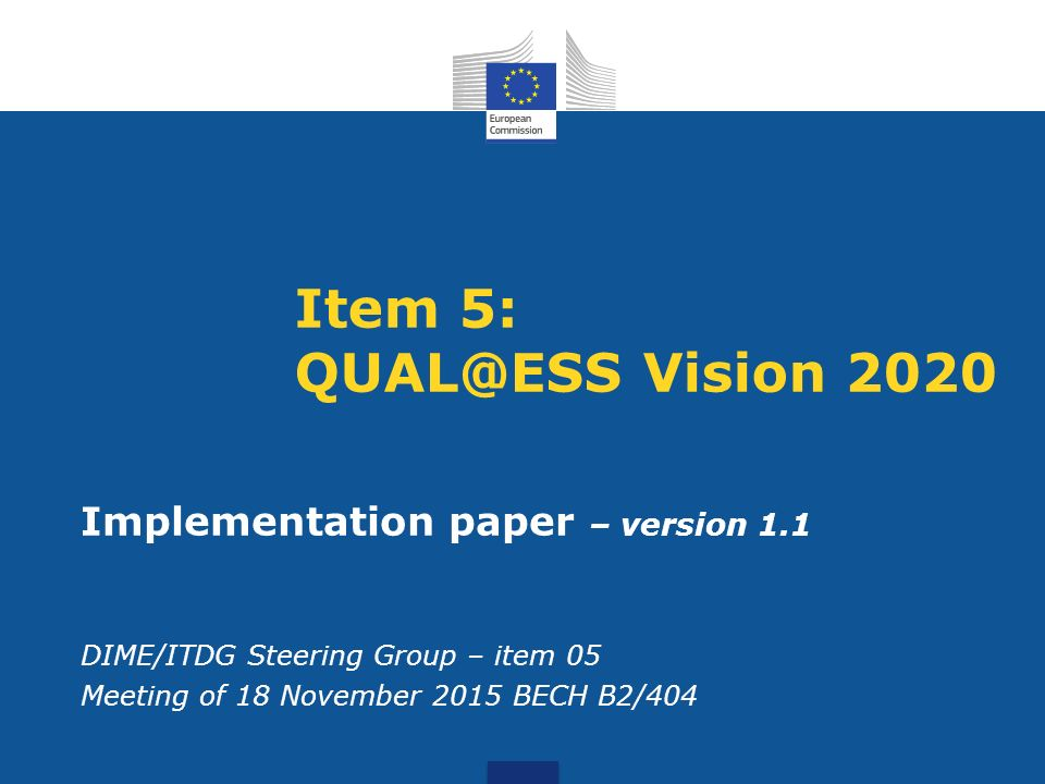 Item 5: Vision 2020 Implementation paper – version 1.1 DIME/ITDG Steering Group – item 05 Meeting of 18 November 2015 BECH B2/404