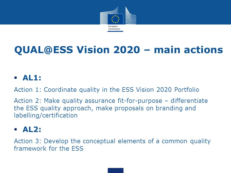 Vision 2020 – main actions  AL1: Action 1: Coordinate quality in the ESS Vision 2020 Portfolio Action 2: Make quality assurance fit-for-purpose – differentiate the ESS quality approach, make proposals on branding and labelling/certification  AL2: Action 3: Develop the conceptual elements of a common quality framework for the ESS