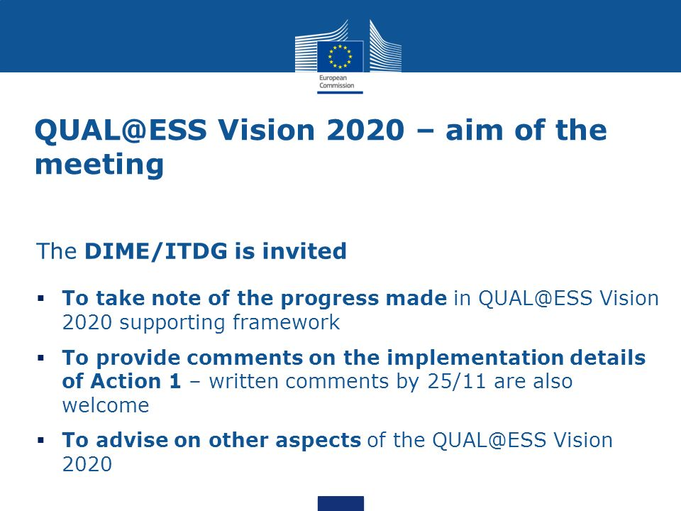 Vision 2020 – aim of the meeting The DIME/ITDG is invited  To take note of the progress made in Vision 2020 supporting framework  To provide comments on the implementation details of Action 1 – written comments by 25/11 are also welcome  To advise on other aspects of the Vision 2020