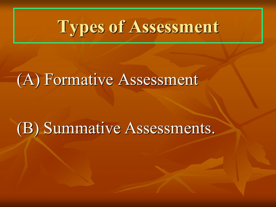 Types of Assessment (A) Formative Assessment (B) Summative Assessments.