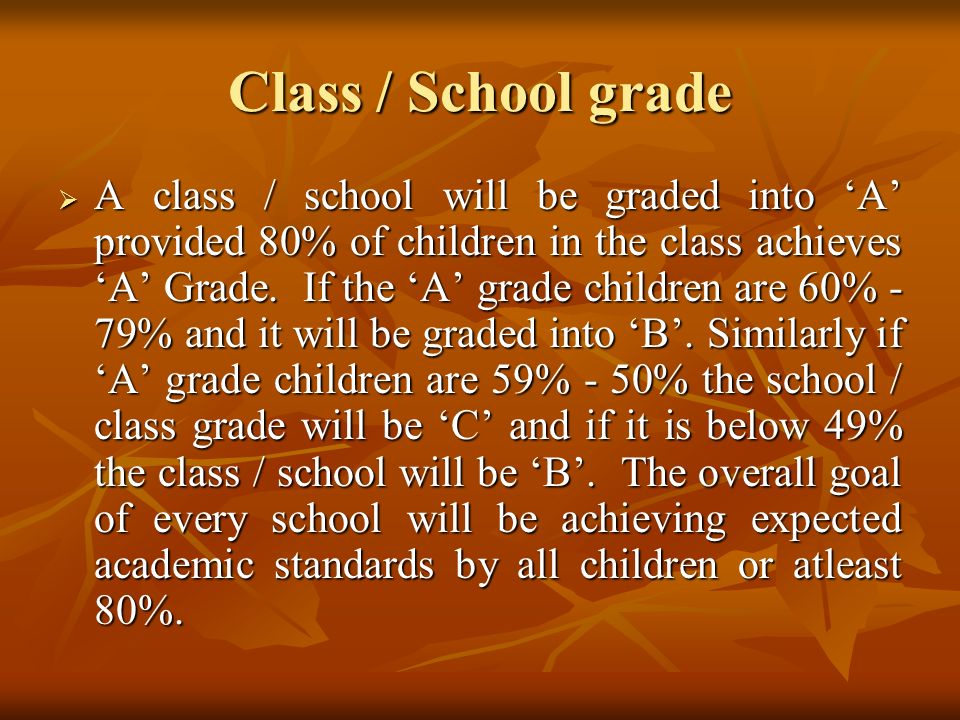 Class / School grade  A class / school will be graded into 'A' provided 80% of children in the class achieves 'A' Grade.