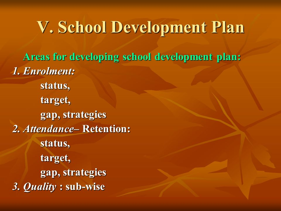 V. School Development Plan Areas for developing school development plan: 1.