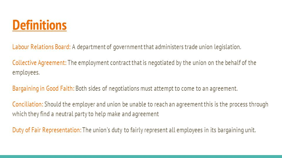 Unionized Jobs Definitions Labour Relations Board A Department Of