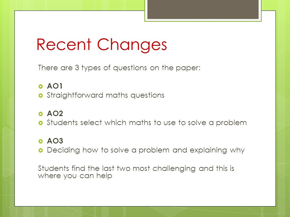 GCSE Mathematics How to support your child. Recent Changes There are ...
