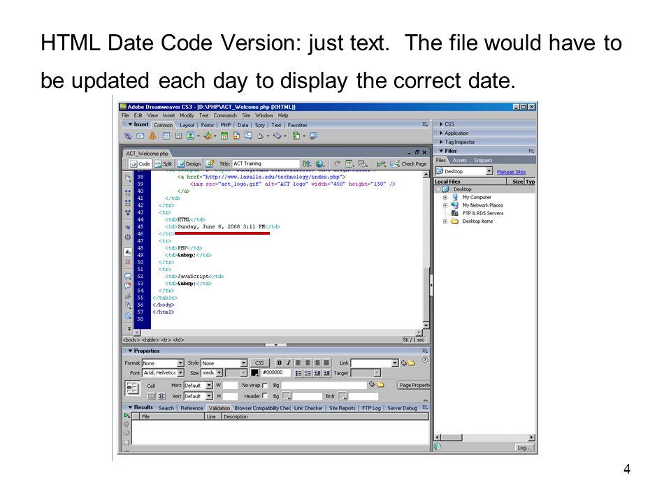 html dreamweaver date